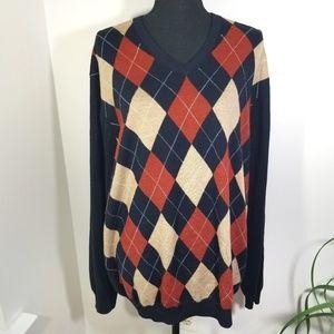 Brooks Brothers argyle Merino wool sweater